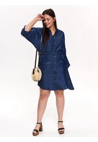 TOP SECRET - Sukienka koszulowa z wiązaniem. Okazja: na co dzień. Kolor: niebieski. Materiał: jeans, tkanina. Długość rękawa: krótki rękaw. Sezon: wiosna, lato. Typ sukienki: koszulowe. Styl: elegancki, casual