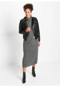 Sukienka dzianinowa z kieszenią, z poliestru z recyklingu bonprix antracytowy melanż. Typ kołnierza: golf. Kolor: szary. Materiał: dzianina, poliester. Wzór: melanż