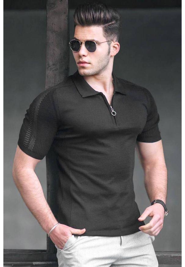 IVET - T-shirt męski JAXON BLACK. Okazja: na co dzień. Typ kołnierza: polo. Kolor: czarny. Materiał: materiał. Styl: casual
