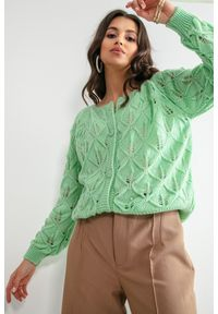 Fobya - Kardigan o Ażurowym Splocie - Zielony. Kolor: zielony. Materiał: wełna, poliamid, akryl. Wzór: ażurowy, ze splotem