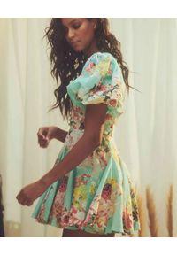 HEMANT & NANDITA - Turkusowa sukienka Sage. Kolor: niebieski. Materiał: len. Wzór: kwiaty, nadruk, aplikacja. Długość: mini