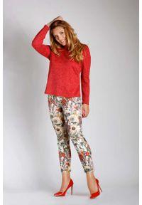 Czerwona bluzka z długim rękawem Nommo plus size, z dekoltem na plecach