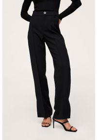 mango - Mango - Spodnie Maca. Stan: podwyższony. Kolor: czarny. Materiał: włókno