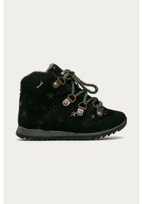 Czarne buty zimowe Mrugała z cholewką, na sznurówki, na zimę