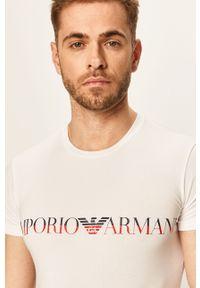 Biały t-shirt Emporio Armani z nadrukiem, z okrągłym kołnierzem