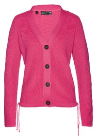 Sweter rozpinany bonprix ciemnoróżowy. Kolor: różowy