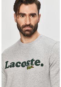 Srebrna bluza nierozpinana Lacoste z nadrukiem, bez kaptura, na co dzień, casualowa