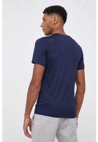 4f - 4F - T-shirt. Okazja: na co dzień. Kolor: niebieski. Materiał: włókno, dzianina. Wzór: nadruk. Styl: casual