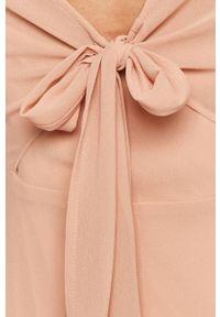 Vila - Sukienka. Kolor: różowy. Materiał: tkanina. Wzór: gładki. Typ sukienki: rozkloszowane