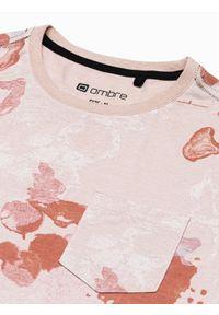 Ombre Clothing - T-shirt męski z nadrukiem S1377 - beżowy - XXL. Kolor: beżowy. Materiał: bawełna, poliester. Wzór: nadruk