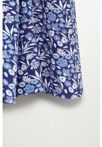 Niebieska sukienka Mango Kids z długim rękawem, rozkloszowana, w kwiaty