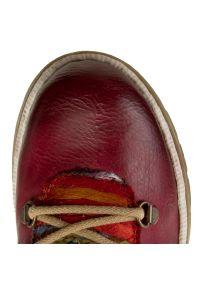 Czerwone buty trekkingowe Rieker z cholewką