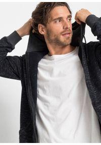 Bluza rozpinana z kapturem bonprix czarny melanż. Typ kołnierza: kaptur. Kolor: czarny. Wzór: melanż #6