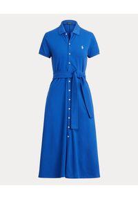 Ralph Lauren - RALPH LAUREN - Niebieska sukienka midi. Typ kołnierza: polo. Kolor: niebieski. Materiał: materiał. Typ sukienki: proste. Długość: midi