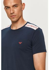 Niebieski t-shirt Emporio Armani z nadrukiem, z okrągłym kołnierzem