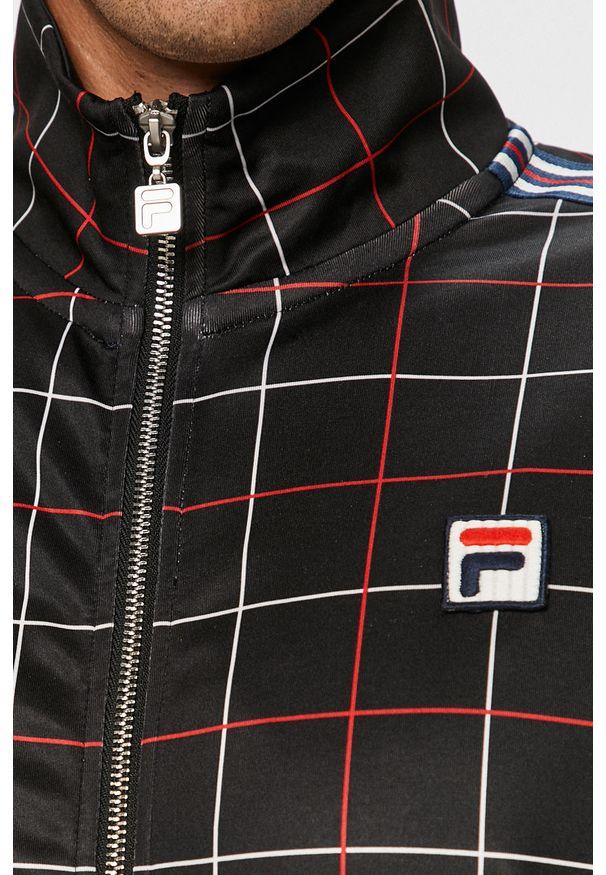 Czarna bluza rozpinana Fila na co dzień, bez kaptura, casualowa
