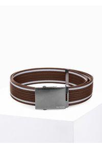 Ombre Clothing - Pasek męski parciany A028 - brązowy - uniwersalny. Kolor: brązowy. Materiał: materiał