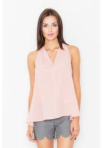 Figl - Różowa Wizytowa Bluzka Wiązana na Karku. Kolor: różowy. Materiał: poliester, wiskoza, elastan. Styl: wizytowy