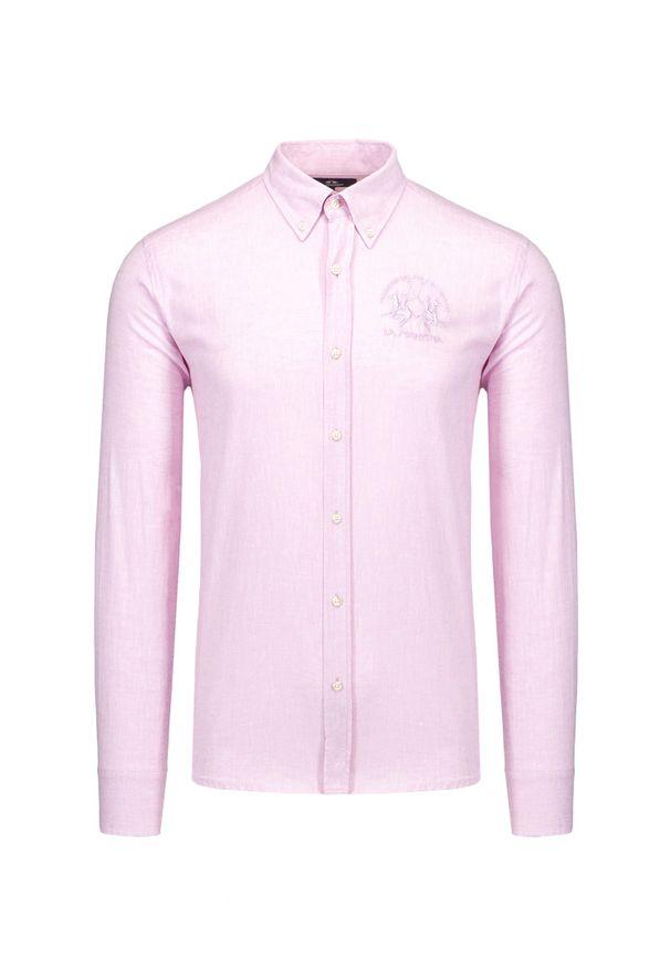 La Martina - Koszula LA MARTINA RENIO. Kolor: różowy. Materiał: bawełna, len. Sezon: lato