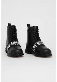 Love Moschino - Workery skórzane. Nosek buta: okrągły. Kolor: czarny. Materiał: skóra