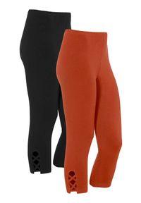 Cellbes Legginsy 3/4 2 Pack rdzawy Czarny female brązowy/pomarańczowy/czarny 46/48. Kolor: pomarańczowy, brązowy, czarny, wielokolorowy. Materiał: bawełna, jersey, guma. Wzór: aplikacja
