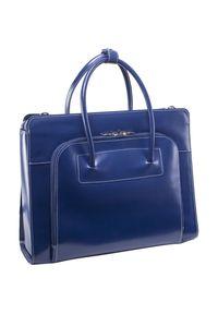 Niebieska torebka MCKLEIN do ręki, casualowa, w kolorowe wzory