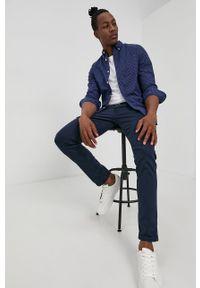 Premium by Jack&Jones - Koszula. Typ kołnierza: button down. Kolor: niebieski. Materiał: bawełna, tkanina. Długość rękawa: długi rękaw. Długość: długie