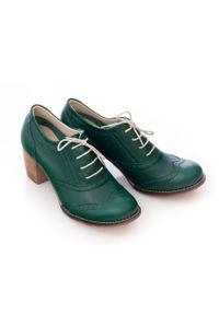 Zapato - sznurowane półbuty na 6 cm słupku - skóra naturalna - model 251 - kolor zielony. Kolor: zielony. Materiał: skóra. Obcas: na słupku