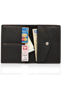 Skórzany cienki portfel slim wallet z miejscem na monety BRODRENE SW08 czarny. Kolor: czarny. Materiał: skóra