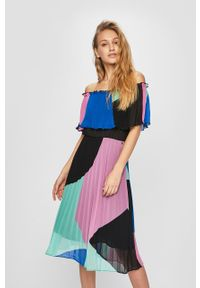 Wielokolorowa sukienka Pepe Jeans midi, plisowana