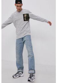 Tommy Jeans - Longsleeve. Kolor: szary. Materiał: bawełna. Długość rękawa: długi rękaw