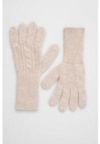 Answear Lab - Rękawiczki z domieszką wełny. Kolor: beżowy. Materiał: wełna. Wzór: melanż. Styl: wakacyjny
