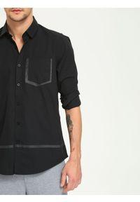 Czarna koszula DRYWASH długa, casualowa, z aplikacjami