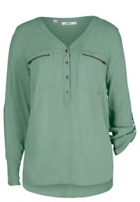 Bluzka z wiskozy z dekoltem w serek, długi rękaw bonprix zielony pastelowy. Typ kołnierza: dekolt w serek. Kolor: zielony. Materiał: wiskoza. Długość rękawa: długi rękaw. Długość: długie
