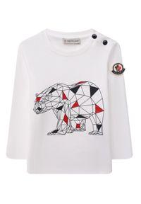 MONCLER KIDS - Koszulka z geometrycznym nadrukiem 0-3 lat. Kolor: biały. Materiał: bawełna. Długość rękawa: długi rękaw. Długość: długie. Wzór: geometria, nadruk. Sezon: lato