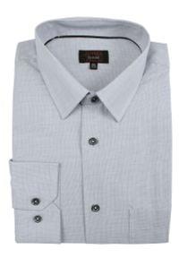 Szara elegancka koszula Jurel do pracy, z długim rękawem, z klasycznym kołnierzykiem, melanż