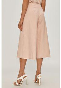 Różowe spodnie materiałowe Beatrice B gładkie, z podwyższonym stanem