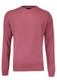 Różowy sweter Adriano Guinari klasyczny, na spotkanie biznesowe