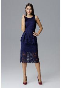 e-margeritka - Koronkowa ołówkowa sukienka bez rękawów granatowa - xl. Okazja: na sylwestra, na wesele, na ślub cywilny, na imprezę. Kolor: niebieski. Materiał: koronka. Długość rękawa: bez rękawów. Wzór: koronka, aplikacja. Typ sukienki: ołówkowe. Styl: elegancki