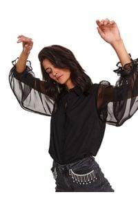 TOP SECRET - Koszula z bufiastymi rękawami. Okazja: na imprezę. Kolor: czarny. Materiał: materiał. Długość rękawa: długi rękaw. Długość: długie. Sezon: zima. Styl: elegancki