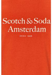 Pomarańczowy t-shirt Scotch & Soda na co dzień, casualowy, z nadrukiem