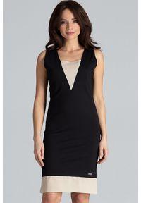 Lenitif - Elegancka sukienka midi z wstawkami z szyfonu czarna. Kolor: czarny. Materiał: szyfon. Typ sukienki: proste. Styl: elegancki. Długość: midi
