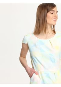 Niebieska sukienka TROLL mini, w geometryczne wzory, ołówkowa, wizytowa #6