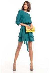 Tessita - Sukienka z Rozkloszowanym Podwójnym Dołem - Szmaragdowa. Kolor: zielony. Materiał: poliester, elastan