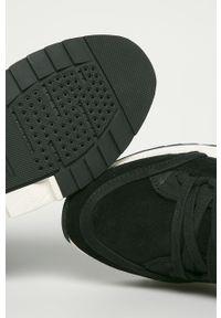Czarne buty trekkingowe Geox z cholewką, z okrągłym noskiem