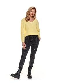 TOP SECRET - Jeansy damskie z wyższym stanem i przeszyciami. Stan: podwyższony. Kolor: szary. Materiał: jeans. Sezon: wiosna