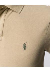 Ralph Lauren - RALPH LAUREN - Koszulka Polo Slim Fit. Typ kołnierza: polo. Kolor: beżowy. Materiał: bawełna. Wzór: haft, aplikacja
