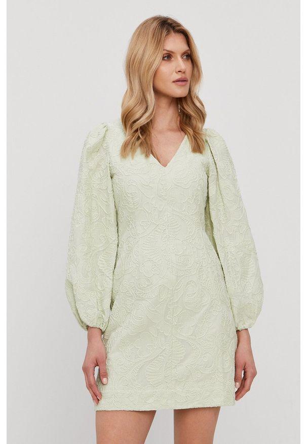 Samsoe & Samsoe - Samsoe Samsoe - Sukienka. Kolor: zielony. Materiał: tkanina. Wzór: gładki. Typ sukienki: rozkloszowane
