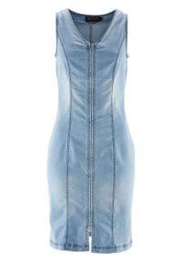 Sukienka dżinsowa z zamkiem bonprix niebieski bleached. Typ kołnierza: dekolt w serek. Kolor: niebieski. Styl: elegancki