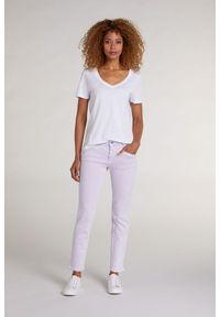 Biały bawełniany t-shirt z krótkim rękawem Oui. Kolor: biały. Materiał: bawełna. Długość rękawa: krótki rękaw. Długość: krótkie